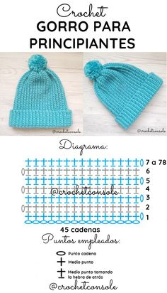 Gorro a crochet para principiantes - Crochet con Sole Crochet Deer, Crochet Baby, Free Crochet, Free Knitting, Knitting Patterns, Crochet Patterns, Crochet Blanket Border, Crochet World, News Boy Hat