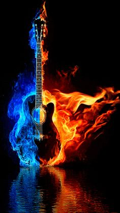 Choregraphiced Animated Burning Guitar!!  WOW Different!!!