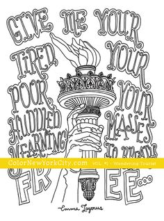 Statue of Liberty Touch and Sonnet coloring page.  From the coloring book:  Color New York City - Volume #1 - Wandering Tourist Available now at Amazon: http://amzn.com/1517559111