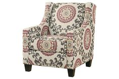 White, red, and gray patterned accent chair for your living room design