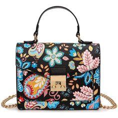 Metal Detail Print Handbag (690 UAH) ❤ liked on Polyvore featuring bags, handbags, shoulder bags, pattern purse, handbag purse, white shoulder handbags, man bag and print handbags
