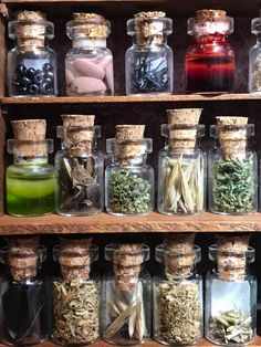 "20 Bottles of herbs and witch poisons Bottle set # 2 of 5 dollhouse size in glass jars 1 "" Witch Room, Witch Herbs, Witch Decor, Potion Bottle, Witch House, Witch Aesthetic, Kitchen Witch, Book Of Shadows, Glass Jars"