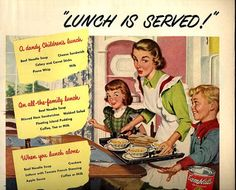vintage 1946 advertisement lunch is served by FrenchFrouFrou, $12.95