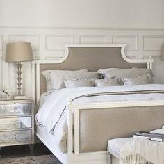 Mirrored Bedside Table, French, bedroom, Linda McDougald Design