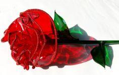Dekorose.eu. Rote Rose mit Glitter