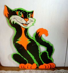 Vintage Beistle Halloween Die Cut Black Cat Green by VintageTinsel
