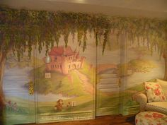 A mural of a castle is featured in every little girl's fantasy of being a princess! Designed by @sieguzi