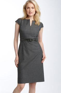 Tahari by Arthur S. Levine Belted Split Neck Sheath Dress    Another sheath option.