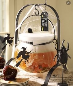 Pottery Barn Halloween Drink Dispenser Witches Brew Cauldron Punch Bowl #PotteryBarn