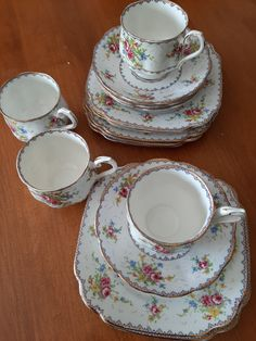 Royal Albert PETIT POINT Tea Cup & Saucer, Square Lunch Plates Fine Bone China -  England
