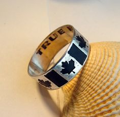 Custom Personalized Canadian flag etched ring by MineOverMatter Leaf Jewelry, Cute Jewelry, Jewelry Box, Jewelery, Canada Maple Leaf, Black Highlights, Personalized Rings, Engraved Jewelry, Jewelry Canada