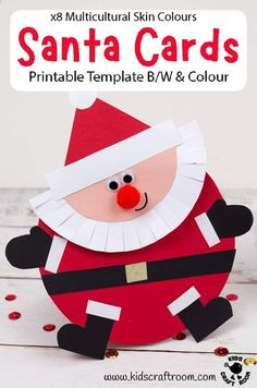 Round Santa Christmas Cards are so fun and easy to make with the printable Santa template. It comes in B/W to colour in or trace around and full colour. The colour version has 8 multicultural skin colours to choose from. Such a fun Christmas card craft for kids. #kidscraftroom #kidscrafts #christmascrafts #santa #santacrafts #christmascards Santa Template, Christmas Card Template, Christmas Card Crafts, Holiday Crafts, Santa Christmas, Homemade Christmas, Christmas Projects, Creative Activities For Kids, Creative Arts And Crafts
