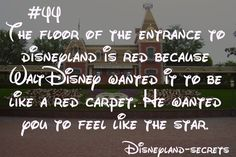 Disneyland-Secret The floor of the entrance to Disneyland is red because Walt Disney wanted it to be like a red carpet. He wanted you to feel like the star. Disneyland Secrets, Disney Secrets, Disney Tips, Disneyland Parks, Disneyland Vacation, Cruise Vacation, Walt Disney, Disney Nerd, Disney Magic