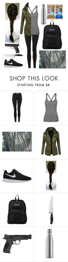 """""""Ready for the apocalypse"""" by harrypotter-gurl ❤ liked on Polyvore featuring Topshop, LE3NO, NIKE, JanSport, Zwilling and Smith & Wesson"""
