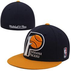 huge discount e388c 7423e Mitchell   Ness Indiana Pacers XL Logo Fitted Hat - Navy Yellow
