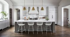 White Kitchen with Gray Island, Transitional, Kitchen, Ryan Street and Associates Circa Lighting Goodman pendants Gray Island, Grey Kitchen Island, Gray And White Kitchen, Kitchen Islands, New Kitchen, Kitchen Dining, Kitchen Decor, Kitchen Cabinets, Brass Kitchen