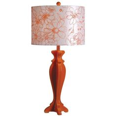 Profile Table Lamp (Orange) (35 KWD) ❤ liked on Polyvore featuring home, lighting, table lamps, orange, floral lights, contemporary table lamps, orange lamp, kenroy home lighting and orange shade