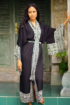 Indonesian Floral Patterned Black and White Robe - Midnight Rose | NOVICA