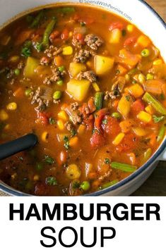 Hamburger Soup is a quick and easy meal loaded with vegetables, lean beef, diced tomatoes and potatoes. It's great made ahead of time, reheats well and freezes perfectly (quick and easy soup vegetables) Easy Hamburger Soup, Hamburger Vegetable Soup, Hamburger Soup With Noodles, Meals With Hamburger, Hamburger Soup With Barley, Vegetable Soup With Noodles, Slow Cooker Hamburger Soup, Hamburger Crockpot Recipes, Recipes With Vegetable Broth