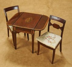 Early English Mahogany Drop-Leaf Table and Two Chairs. Early 1800's. http://Theriaults.com