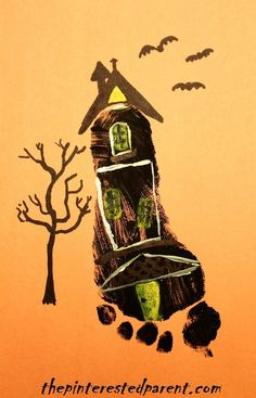 Footprint haunted house craft - Halloween crafts for kids