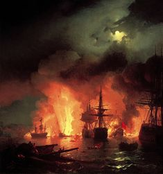 meiringens:    Ivan Aivazovsky, Battle of Chesma at Night, 1848.