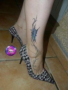 tatouage femme cheville tribal et papillon ankle tattoo girls pinterest papillons. Black Bedroom Furniture Sets. Home Design Ideas