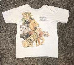 Vintage Great Cats Tshirt 1989 80s Lion Tiger Leopard Shirt Washing D.C Zoo XL #Unbranded #GraphicTee