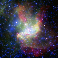 This painterly portrait of a star-forming cloud, called NGC 346, is a combination of multiwavelength light from NASA's Spitzer Space Telescope (infrared), the European Southern Observatory's New Technology Telescope (visible), and the European Space Agency's XMM-Newton space telescope (X-ray).