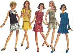 60s Mini Dress A Line Skirt Pleated Skirt Scarf Simplicity 8310  Junior Petite Size 5JP - Bust 31