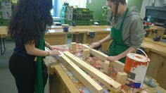 Rachel and Leona working on the manufacturing of the pit display for the National Finals.