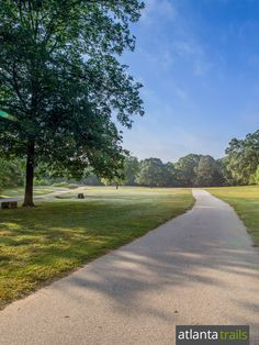 The paved running trail at Yellow River Park near Stone Mountain winds along the Yellow River