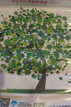 5D DIY diamond painting cross stitch mosaic  Green whimsy tree wall art