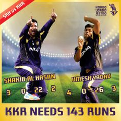 #KKR needs to score 143 to win the match. Our bowlers have done a great job. Kudos to their effort.  #KorboLorboJeetbo #OneTeamOnePledge #CheerForKKR #SRHvsKKR