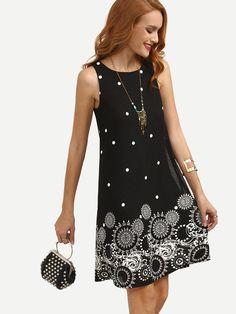 Shop Black Polka Dot Print Sleeveless Shift Dress at ROMWE, discover more fashion styles online. Simple Dresses, Casual Dresses, Summer Dresses, Fashion Clothes, Fashion Dresses, Women's Fashion, Fashion Weeks, Paris Fashion, Make Me Chic