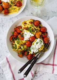 This summer pasta is the perfect creamy combination of pasta prosciutto cherry tomatoes and burrata cheese. Pork Recipes, Pasta Recipes, Cooking Recipes, Best Grilled Cheese, Roasted Cherry Tomatoes, How To Cook Pasta, Original Recipe, Fresh Herbs, Kitchens