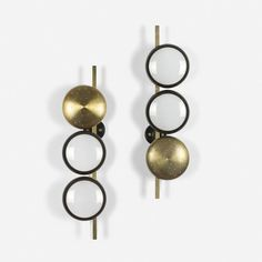 Oscar Torlasco; Brass and Frosted Glass Wall Lights for Lumi, c1955.
