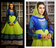 A Bash of Color Combos to try out, with this Gleaming #Green & #Blue Anarkali Salwar Kameez . Shop this Bollywood Range #Anarkali #Salwarkameez online from Nallu Collection at an attractive price.  http://www.nallucollection.com/bollywood/karishma-kapoor/karishma-kapoor-in-parrot-green-and-blue-pure-georgette-long-length-anarkali-suit.html