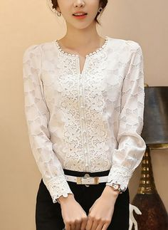 Elegant floral white lace shirt women O-neck long Sleeve hollow out plus size lace women tops blouse plus size blusa feminina Blouse Styles, Blouse Designs, Hijab Fashion, Fashion Outfits, Womens Fashion, Dress Patterns, Blouses For Women, Long Sleeve, How To Wear