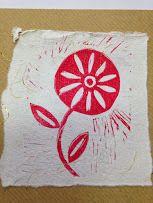Lino printed Flower card £2.00
