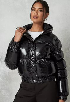 Black Down, Puffy Jacket, Padded Jacket, Jackets Online, Jackets For Women, Winter Jackets, Coat, Womens Fashion, Missguided