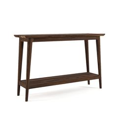 Walnut Console Table - This narrow console table with a low shelf is built in solid walnut wood. It is finished with a penetrating Danish oi...