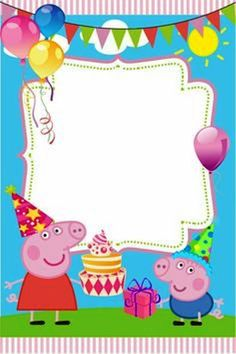 New Peppa Pig Invitation Card Template HD Quality Peppa Pig Birthday Decorations, Peppa Pig Birthday Invitations, Peppa Pig Birthday Cake, Invitacion Peppa Pig, Cumple Peppa Pig, Peppa E George, Invitation Fete, Party Invitations, Invitation Templates