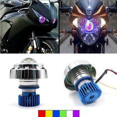 12V Motorcycle LED Hi/Lo Beam Laser 6 Colors Angel Eyes Red Evil Eyes White Head
