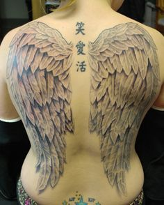 back wing tattoos for girls | Full Back Wings Tattoo by joshing88 on deviantART