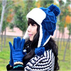 warm bomber hat for women winter fleece knit hat with hairball