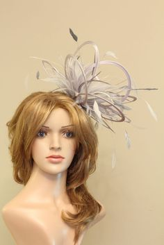 Silver & Ivory Fascinate Fascinator Hat/choose any colour satin & feather colour