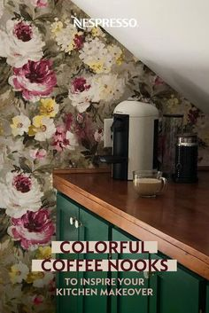 Looking for fresh kitchen ideas? Take a cue from these bright coffee bars and add a splash of color or a bold pattern. Peel-and-stick wallpaper is a good option for renters, or hang bright artwork above your coffee machine. Feeling daring? Make lower cabinets pop with a coat paint. Photos by: jgvittidesign, thelocktendercottage, thehartofthehome, tonysxhouse, samanthaspappas & 26streetstudio Nespresso Usa, Nespresso Recipes, Espresso Coffee, Coffee Bars, Coffee Nook, Home Coffee Stations, Coffee Machine, Peel And Stick Wallpaper, Color Splash