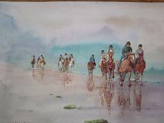 Aquarelle course de chevaux 🏇 sur la plage Painting, Art, Horse, Beach, Watercolor Painting, Craft Art, Paintings, Kunst, Gcse Art