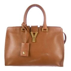 Saint Laurent Y Cabas Small Tote ($1,495) ❤ liked on Polyvore featuring bags, handbags, tote bags, leather tote bags, genuine leather tote, zip top tote, brown tote and brown handbags